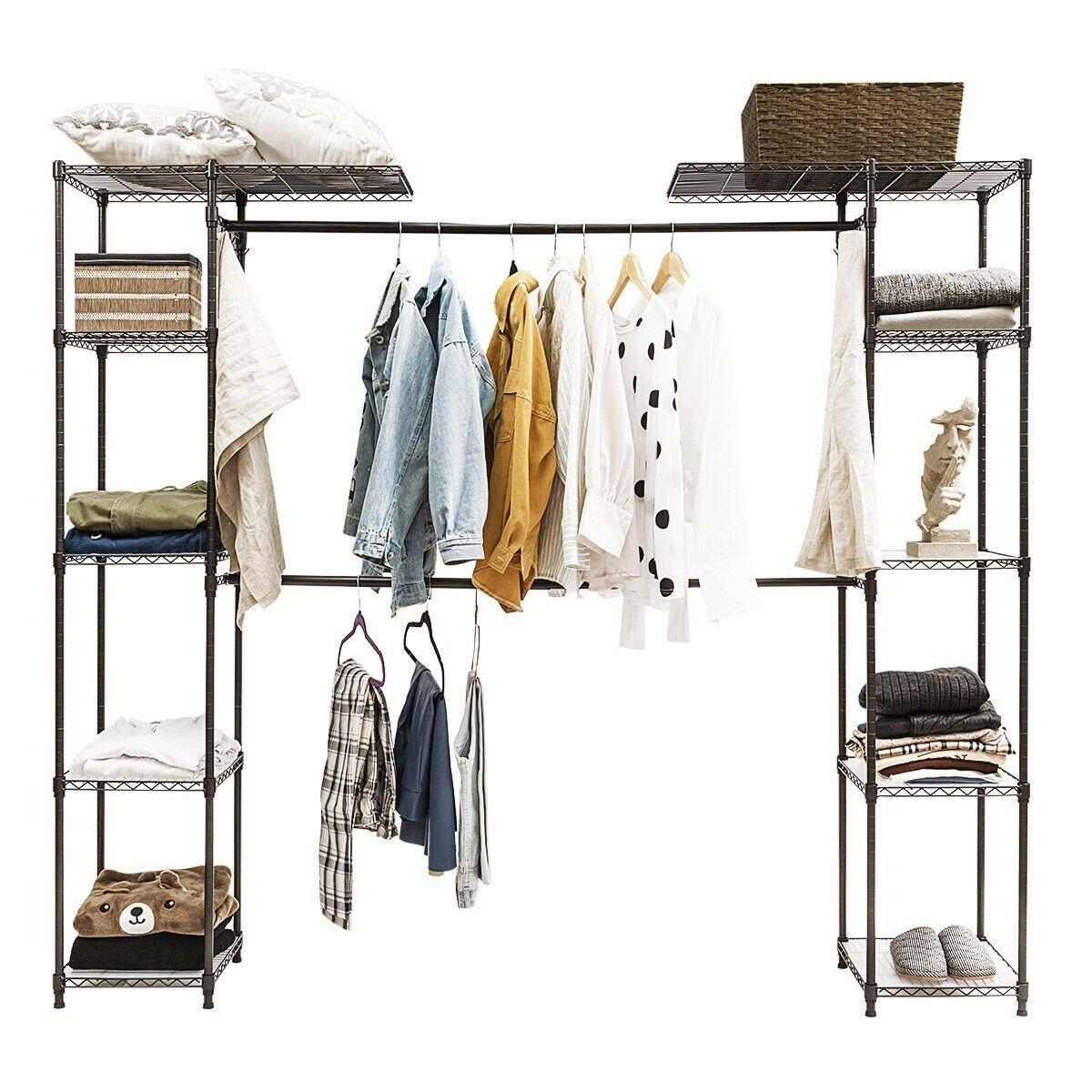 Expandable Free Standing Closet Clothes Hanger Rack Clothes