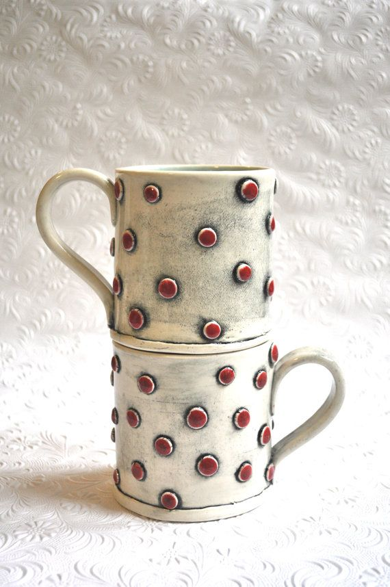 Red Polka Dotted/ Spotted Mug with Turquoise by chARiTyelise