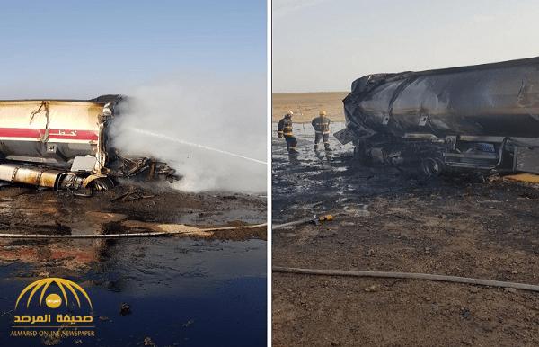 شاهد بالصور حادث مروع واحتراق ناقلة زيت على طريق سريع في جدة Train