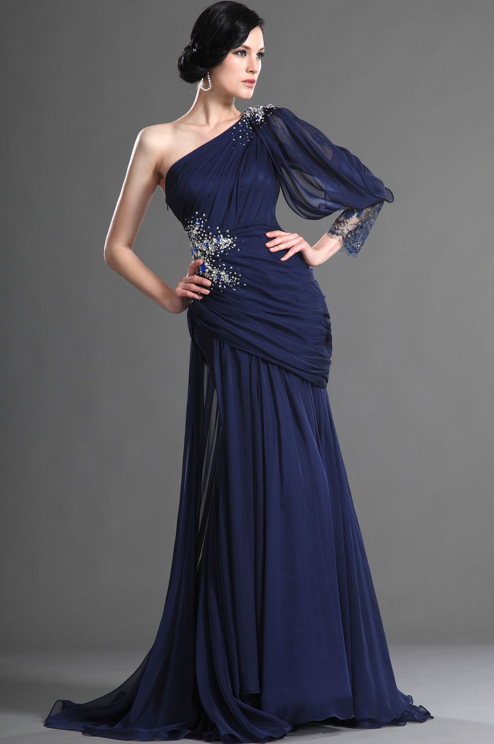c810e7dcf4 Charming Fitted One Shoulder Dark Blue Evening Dress (02122005 ...