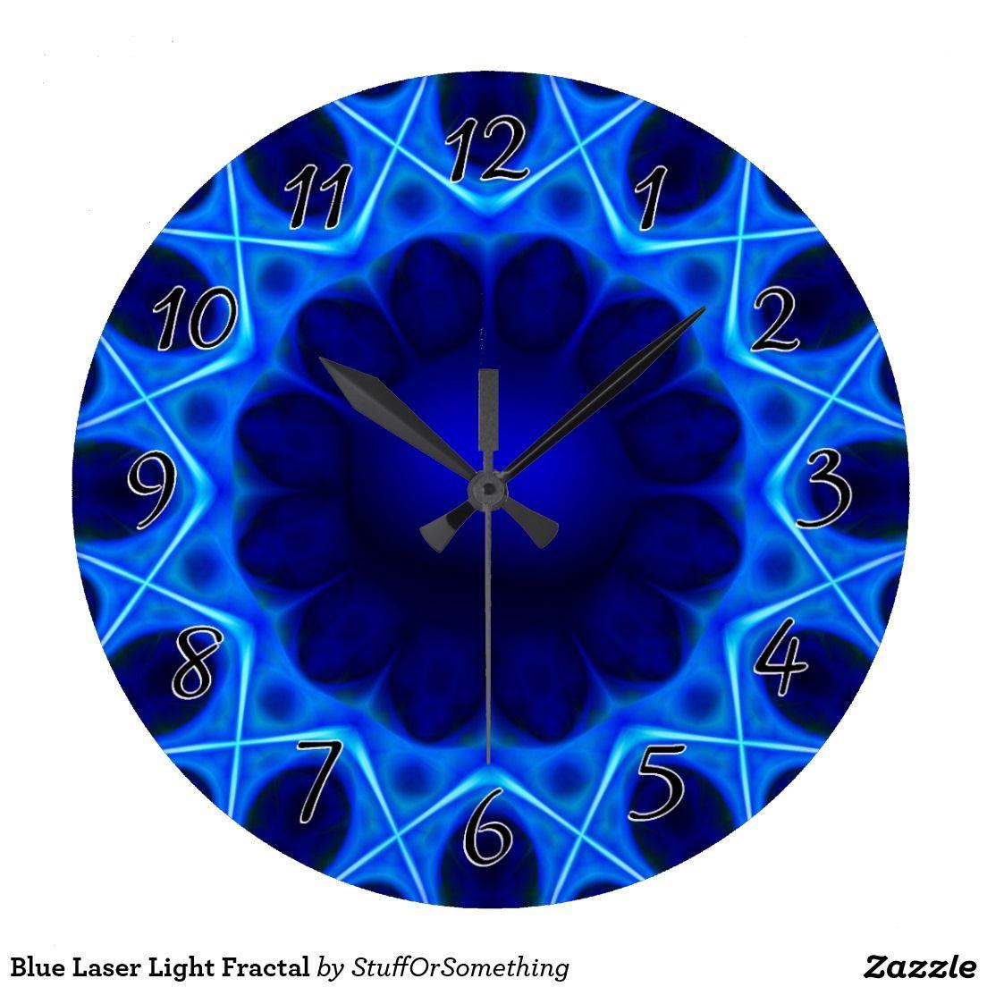 Blue Laser Light Fractal Wallclocks