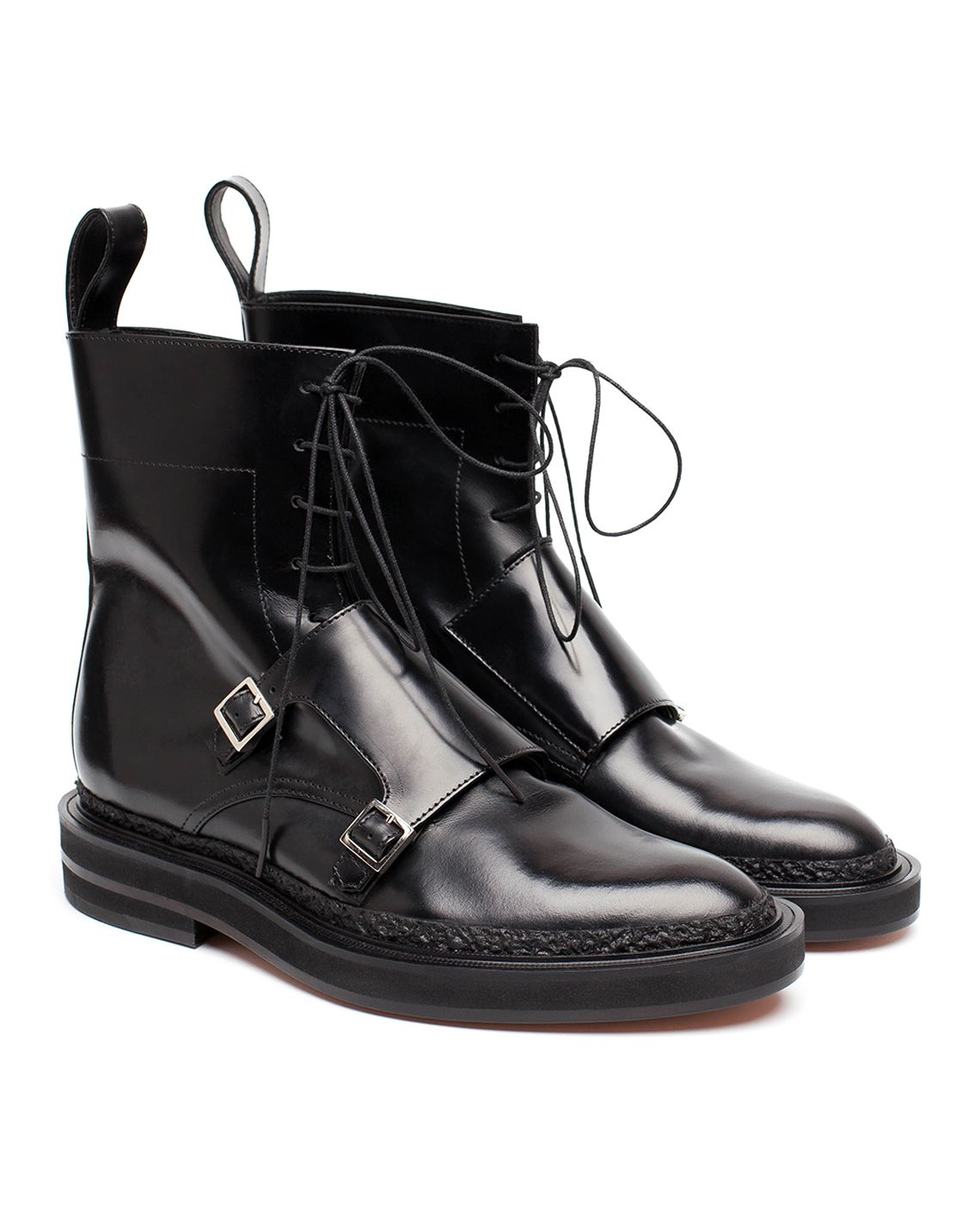 f05671b53ca225 Crafted from glossy black leather that's been finely stitch and finished  with a rugged commando soles