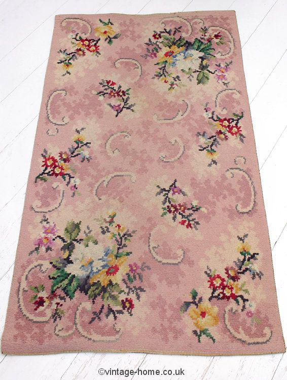Pretty 1940s Wartime Fl Hearth Rug