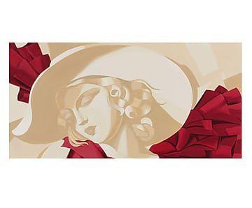 Riproduzione su tela Ragazza con Cappello - 140x70 cm