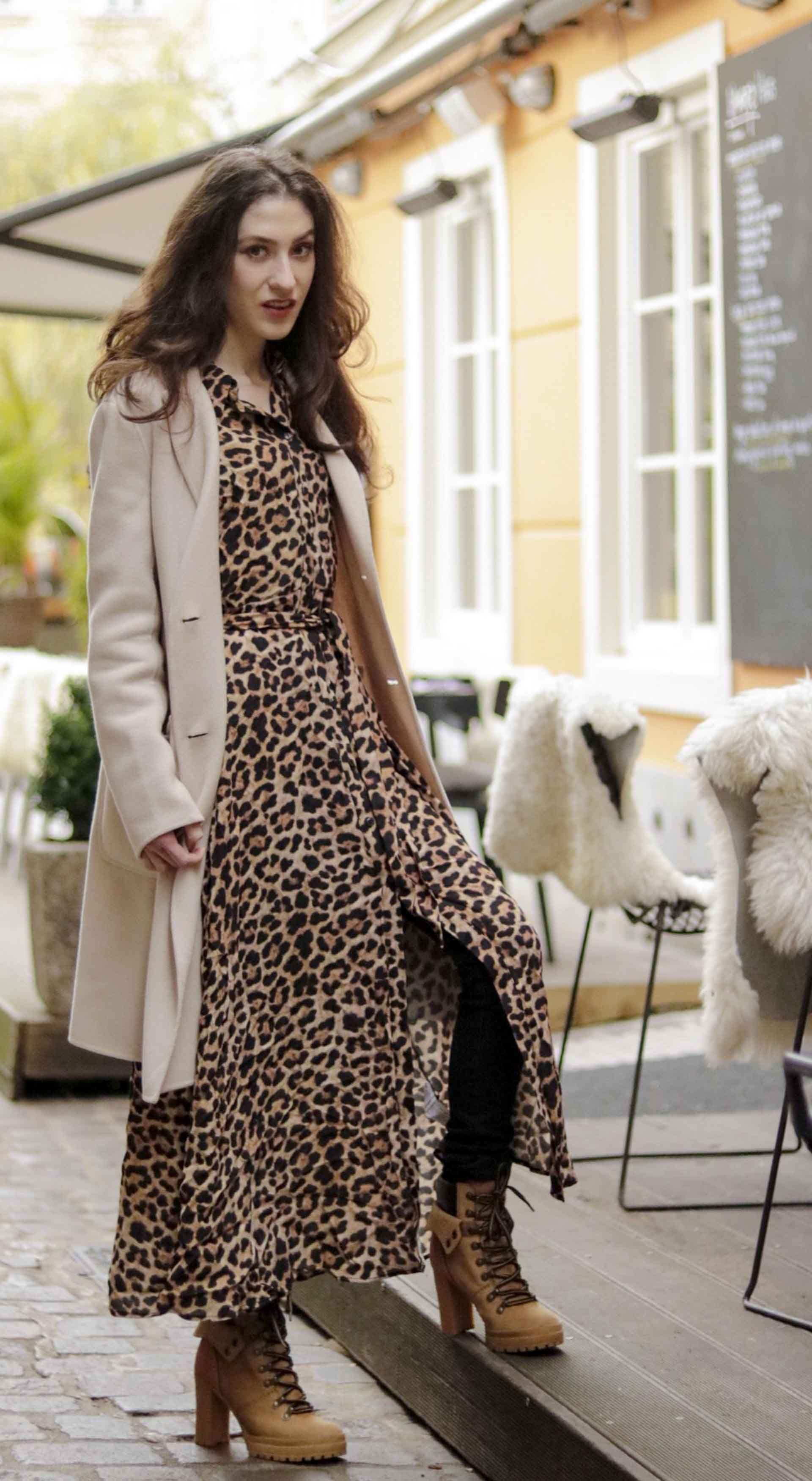 b3a783bf Beautiful Slovenian Fashion Blogger Veronika Lipar of Brunette from Wall  wearing Weekend Max Mara double-breasted coat, leopard print long Ganni  dress, ...