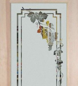 art glass cabinet designs -etched glass vineyard grapes cascade ...