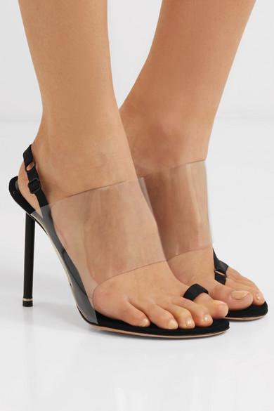 Alexander Wang Kaia Grosgrain Trimmed Suede And Pvc Slingback Sandals Black Slingback Sandal Slingback Heels