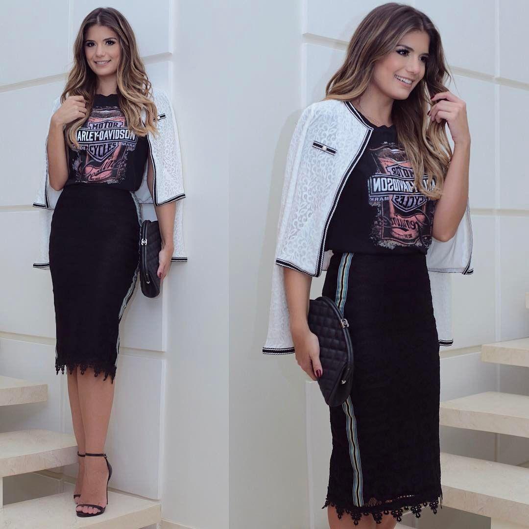 Look todo @tricia_moda  Misturinha de peças delicadas, de renda, com t-shirt, que tal? Eu amei!