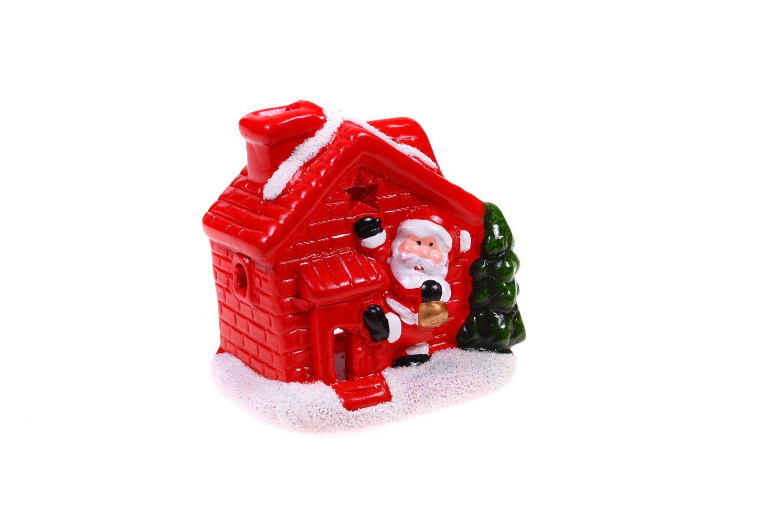 Ewa&Ja Świecznik domek z Mikołajem przy drzwiach