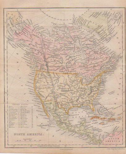 1854 Map Hand Colored   North America United States    Canada Mexico