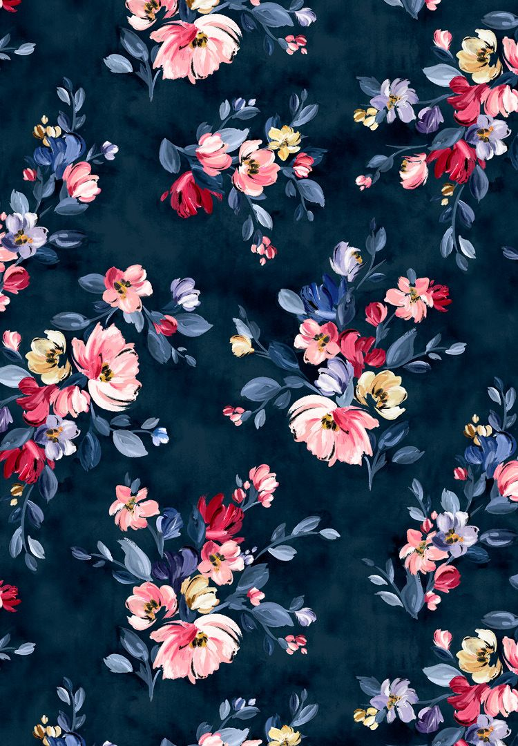 A Navy Floral Print With Brightly Coloured Pink And Yellow Flowers