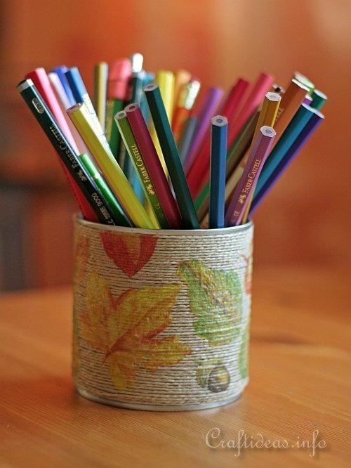 Autumn Leaves Pencil Holder #papernapkins