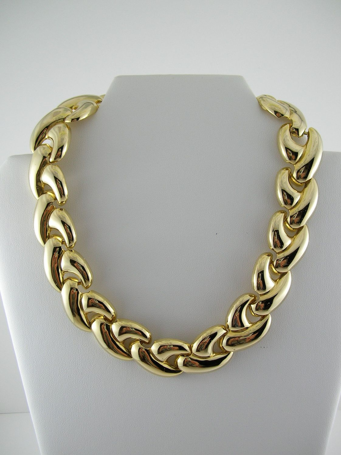 Vintage Gold Necklace Choker Collar 80s Chunky Thick Gold Chain Link 1980s  Mod Retro Boho Hipster Pin Up Mad Men Modernist