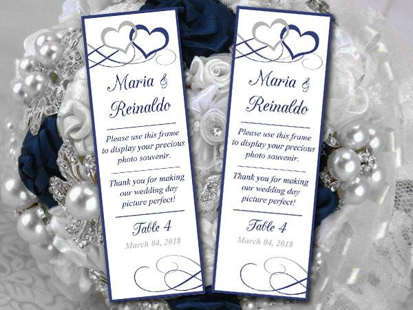 Photo Booth Insert Place Card Template Printable Quot Entwined Hearts Quot Navy Silver Weddi Place Card Template Card Templates Printable Navy Silver Wedding