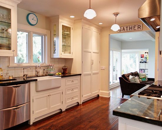 Best Eclectic White Kitchen With Vintage Style Cabinets 400 x 300