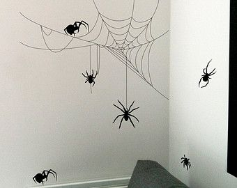 Halloween Spider and Cobwebs wall sticker £16