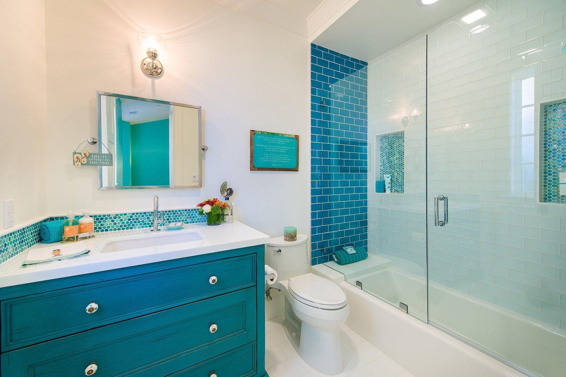 Blue Coastal Dream Ideas For A Unique Beach Design Beach Houses In 2020 Beach House Bathroom Bathrooms Remodel Dream Beach Houses
