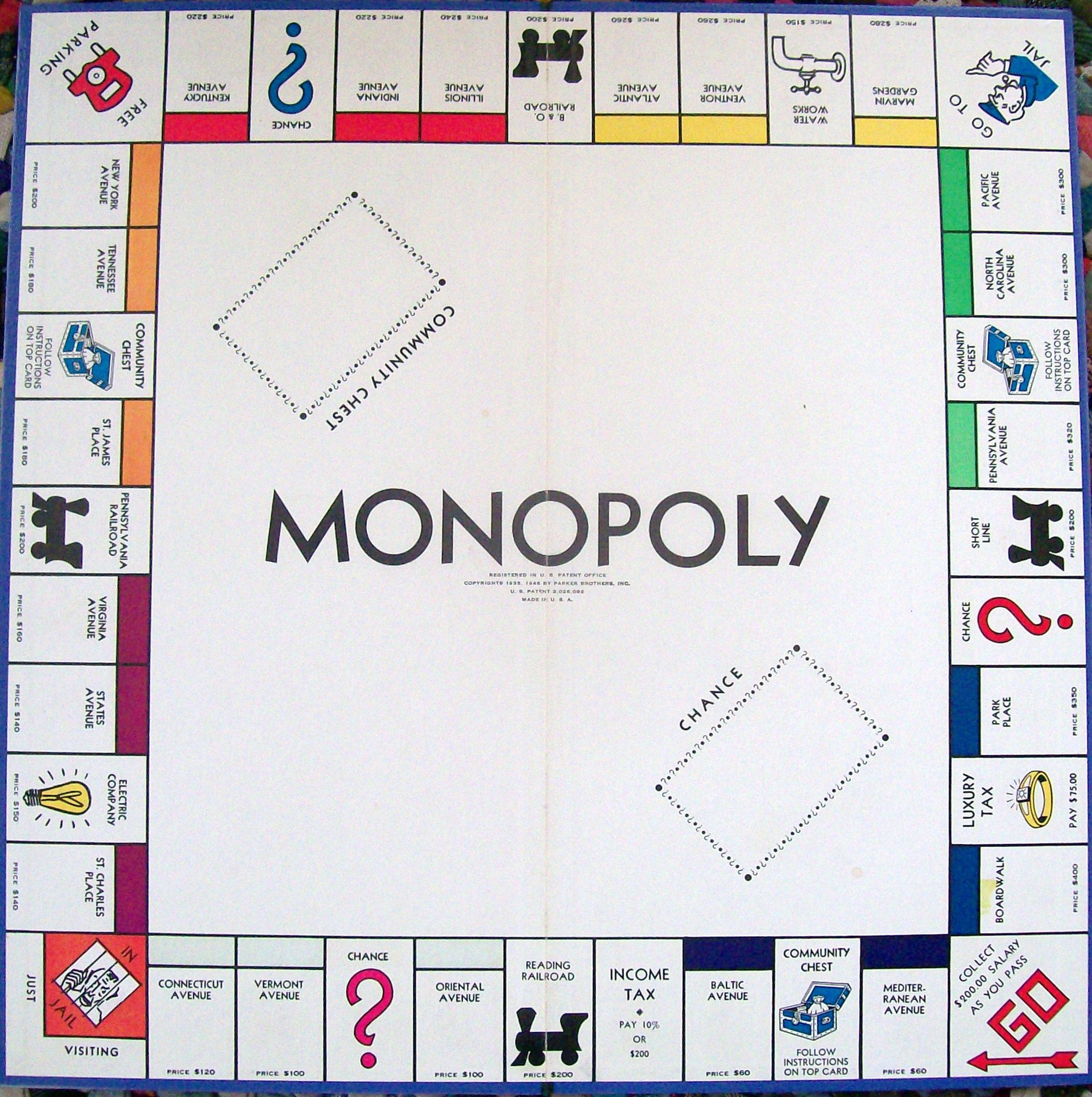 Игровое поле монополии картинка