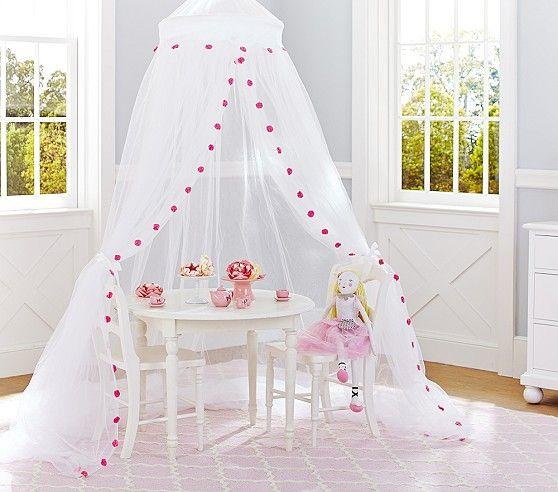 Best Pink Pom Pom Canopy Pottery Barn Kids Girls Room 640 x 480