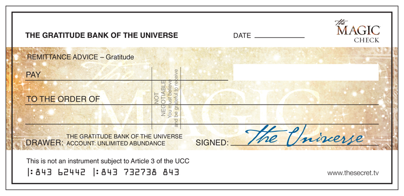 The Magic Check From The Universe The Secret Official Website Money Affirmations Law Of Attraction Secret Law Of Attraction