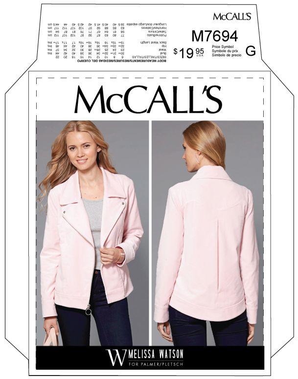 Mccalls 7694 Melissas Moto Jacket Sewing Pinterest Sewing