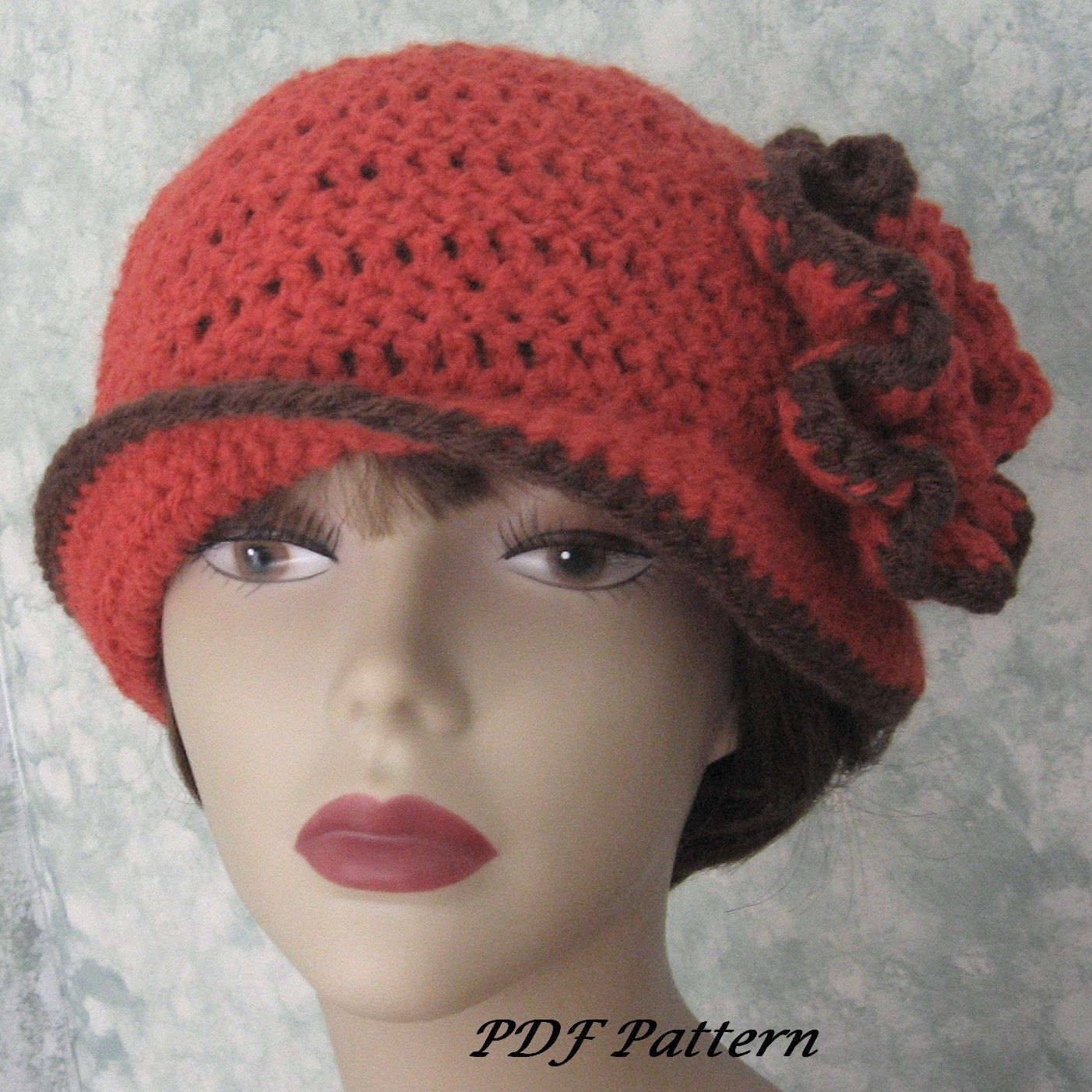 Womens Crochet Hat Pattern With Double Flower Trim Easy To Make