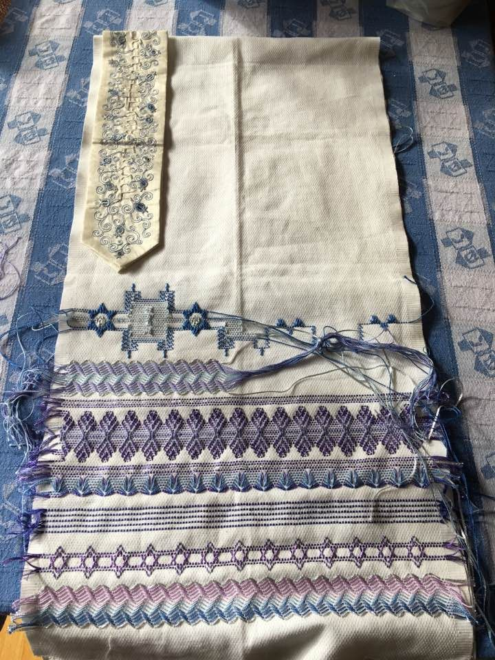 A Tallit Prayer Shawl In Progress Using Huck Toweling And