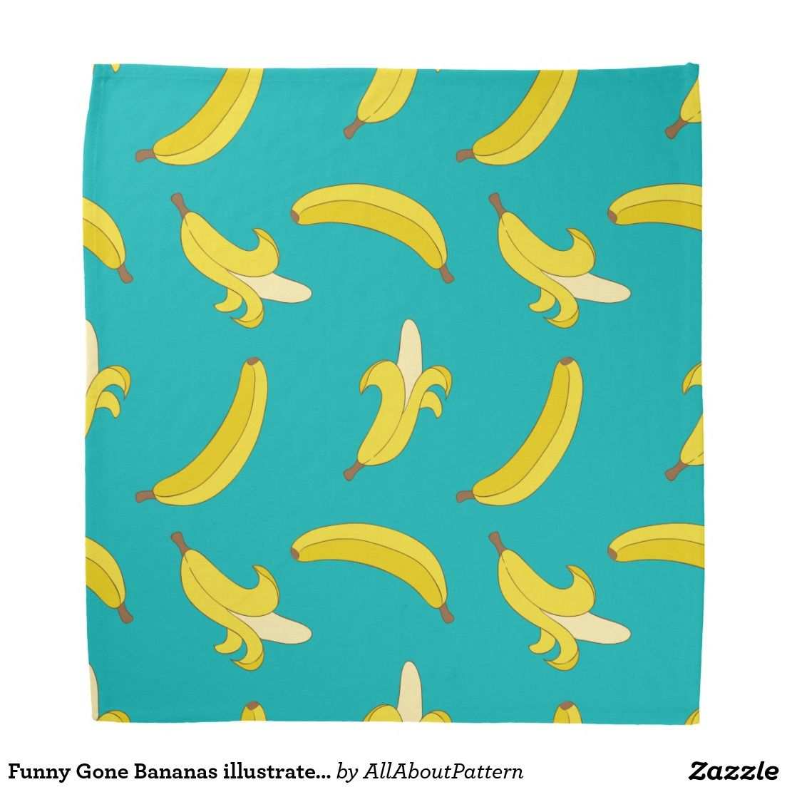 Funny Gone Bananas Illustrated Pattern Bandana Zazzle Com Whimsical Illustration Pattern Art For Kids