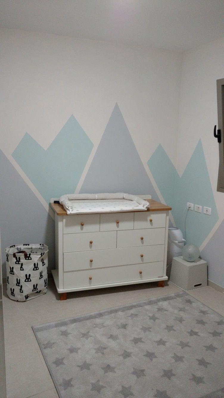 Baby boy nursery mountains gray mint vanilla Babyzimmer