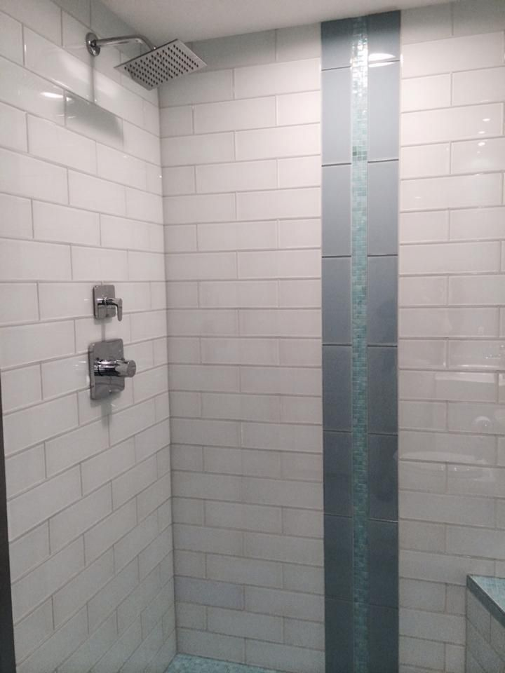 White Gl 4 X 12 Subway Tile Shower And