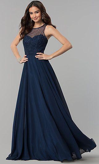 Long Illusion-Sweetheart Beaded Prom Dress
