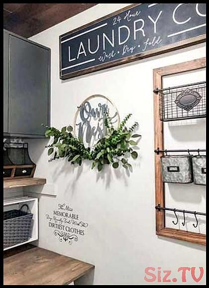 CityGirl Meets FarmBoy DIY Home Decor styles thisOur NestSign so beautifully in her farmhouse laundry roomfarmhouse laundryroom ournest CityGirl Meets FarmBoy DIY Home De...