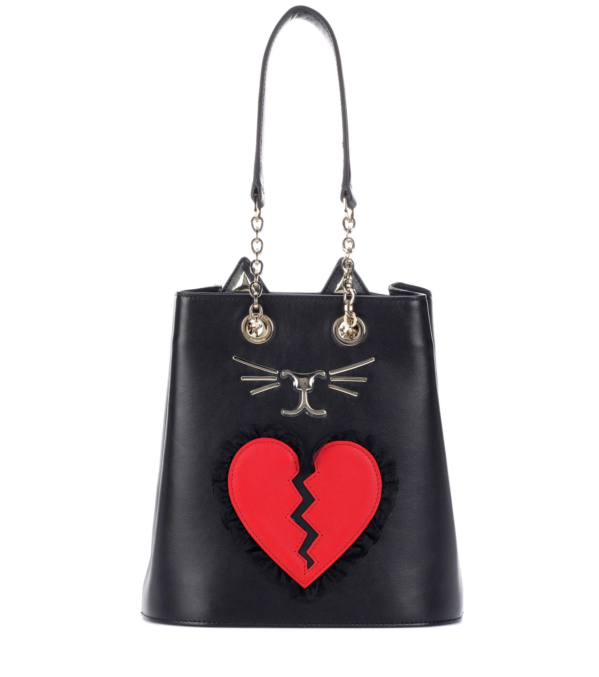 Feline printed calf hair bucket bag Charlotte Olympia