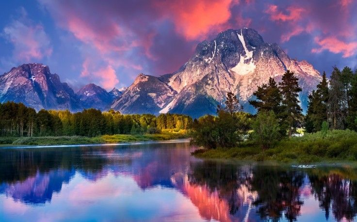 Nature Landscape Mountain River Forest Grass Sunrise Snowy Peak Sky Clouds Reflection Grand Teton National Park Wyoming Water Wallpapers Hd Deskt Grand Teton National Park Teton National Park National Park Photos