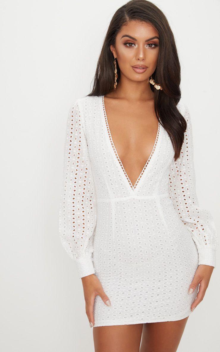 White Crochet Lace Puff Sleeve Bodycon Dress White Long Sleeve Mini Dress White Lace Mini Dress Short Bodycon Dress [ 1180 x 740 Pixel ]