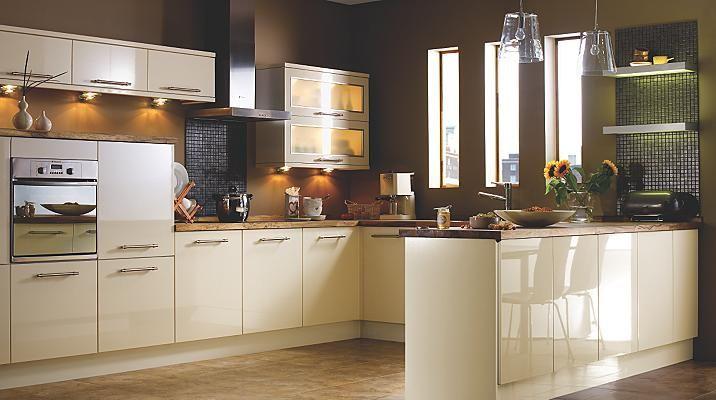 Gloss Cream Slab Kitchen Cabinet Doors Fronts Kitchens Kitchen Refurbishment Kitchen Style Home Kitchens