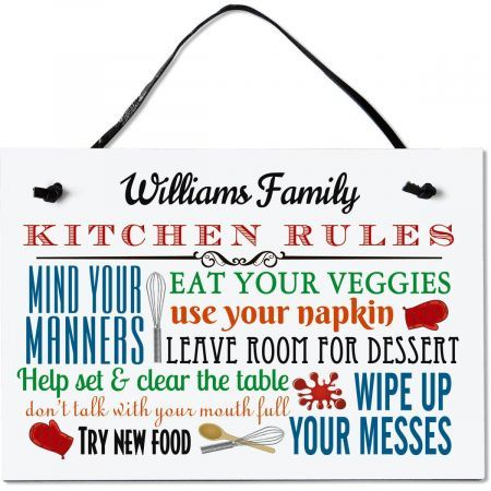 Kitchen Rules Personalized Wooden Plaque #kitchenrules
