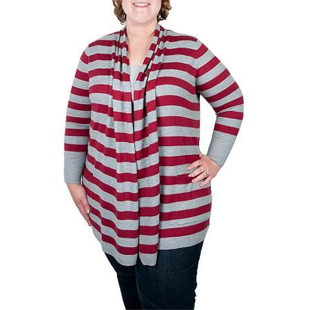 Faded Glory Womens Plus Size Rugby Striped Flyaway Cardigan