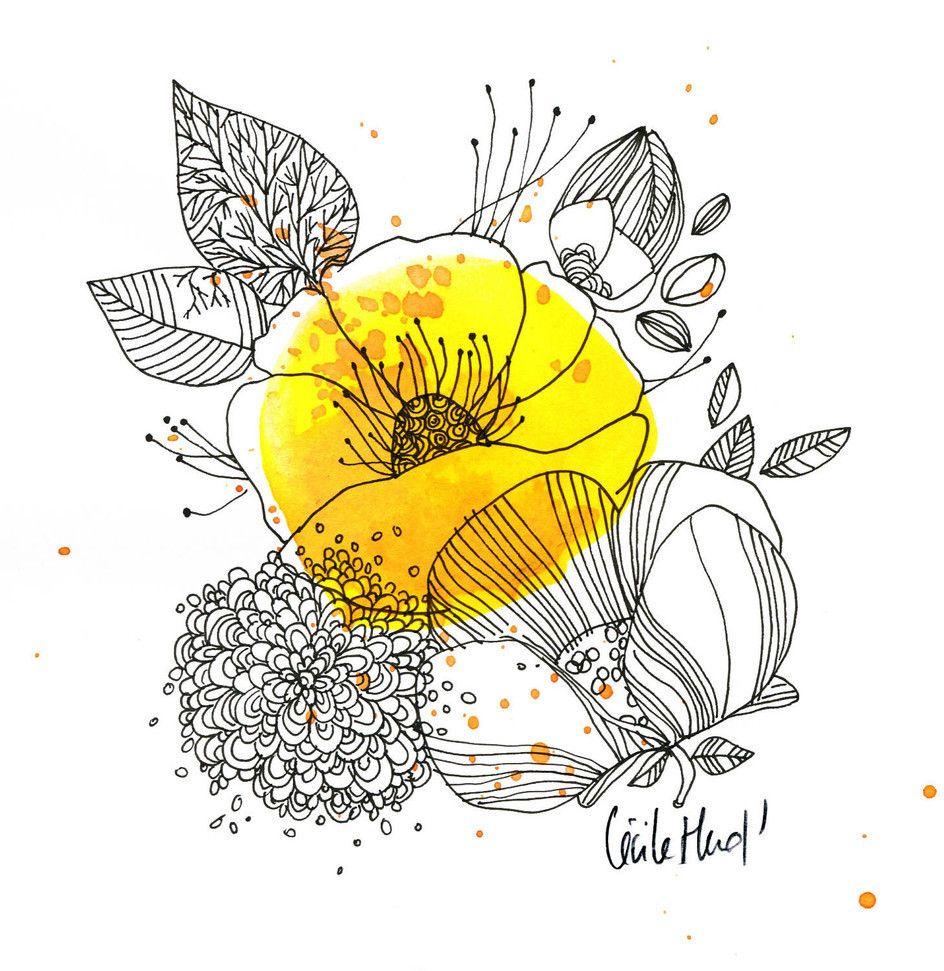 Fleur Jaune Illustration Cecilehudrisier Aquarelle Ink Doodle