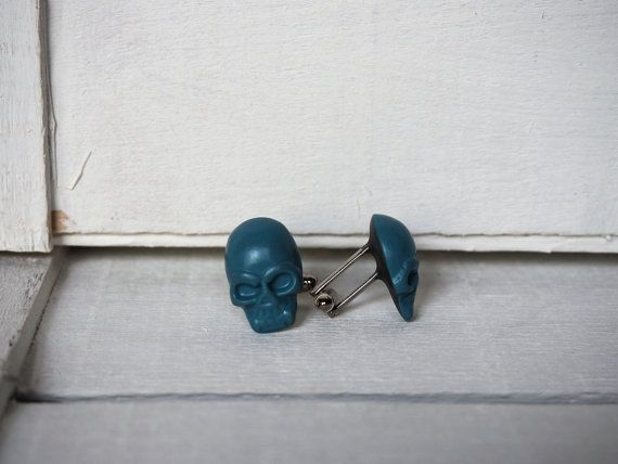 Blue Teal Cufflinks Blue Teal Skull Cuff Links by BijHotGallery