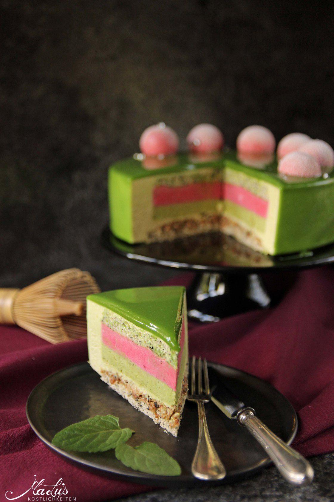 Matcha-Limetten Torte mit Himbeere & schwarzem Sesam #japanischerkäsekuchen