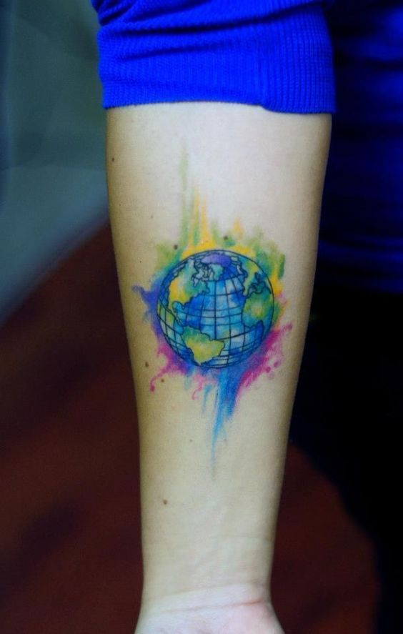 Image result for watercolor earth tattoo