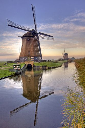 Windmills Reflected Holland Windmills Windmill Dutch Windmills