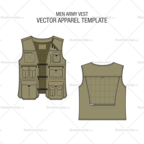 2bcf47db1068bb A detailed Fashion Flat Vector Template for Men Army Vest in Olive Green  colour. This is a very detailed Army Vest with several Trims and Pockets.