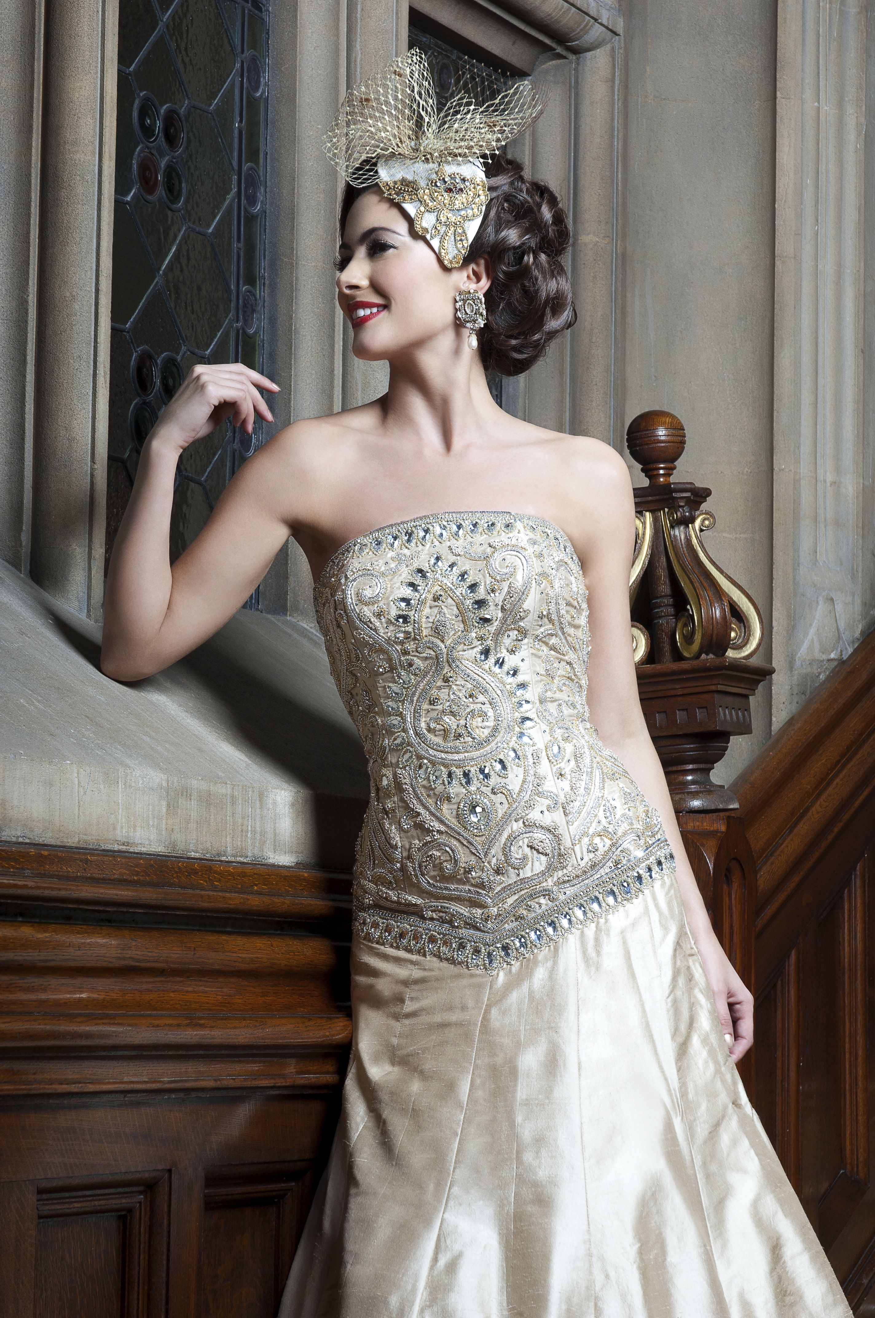 WS09 - light champagne gold gown with exquisite Indian embroidery ...