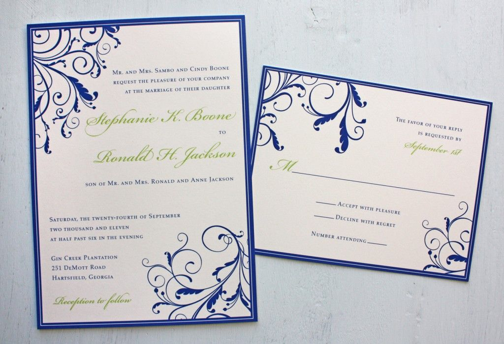 Invitation idea i like the layout on these wedding pinterest royal blue and apple green vine swirls with border wedding invitations filmwisefo