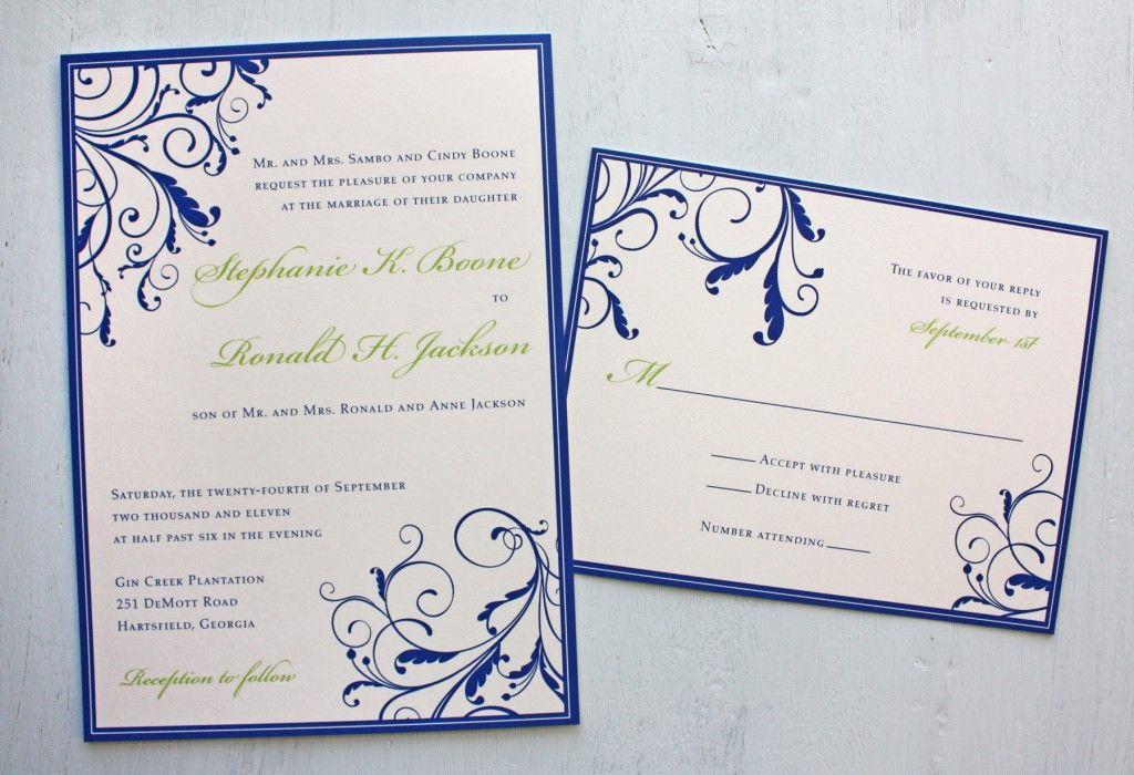 Royal Blue And Apple Green Vine Swirls With Border Wedding Invitations