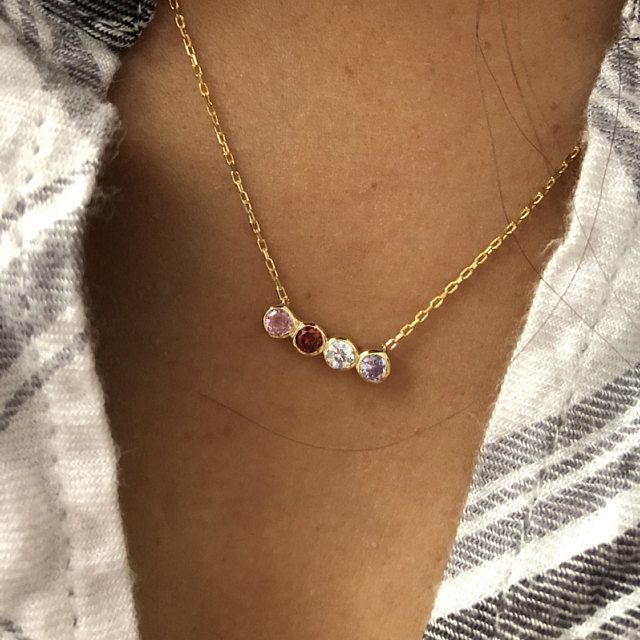 Photo of Family Birthstone Necklace, Birthstone Necklace, Dainty Necklace, Mothers Necklace, Birthstone Gifts, Gifts for Mothers Jewelry