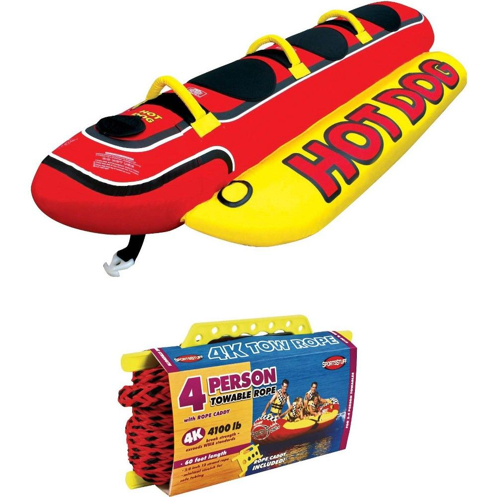 Airhead Hot Dog Inflatable 3 Person Tube W Inflatable Buoy Booster Ball Hot Dogs Towable Tubes Water Skiing