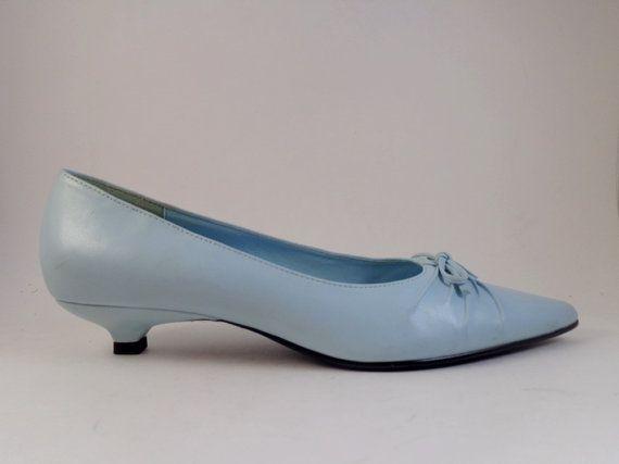 Vintage JASMIN Light Blue Kitten Heels Womens Shoes Size 8.5 M ...